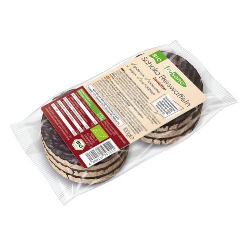 Organic rice waffle with dark chocolate